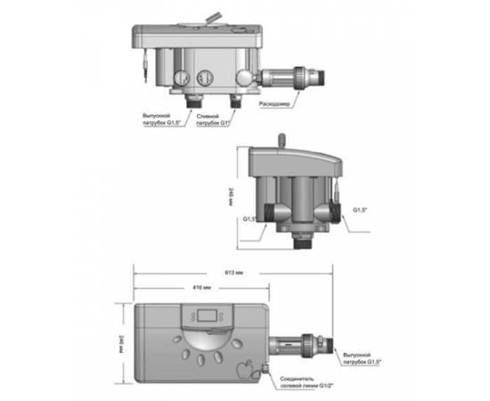 """Клапан умягчения по расходу, 10 куб/час, непрерывное вх/вых - 1,5"""", TWIN, Runxin, изображение 2"""